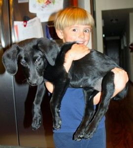 Dylan Skye Goedeker and his dog Addie